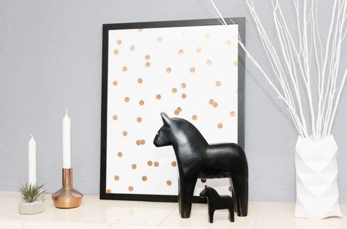DIY Bild mit Pünktchen in Kupfer