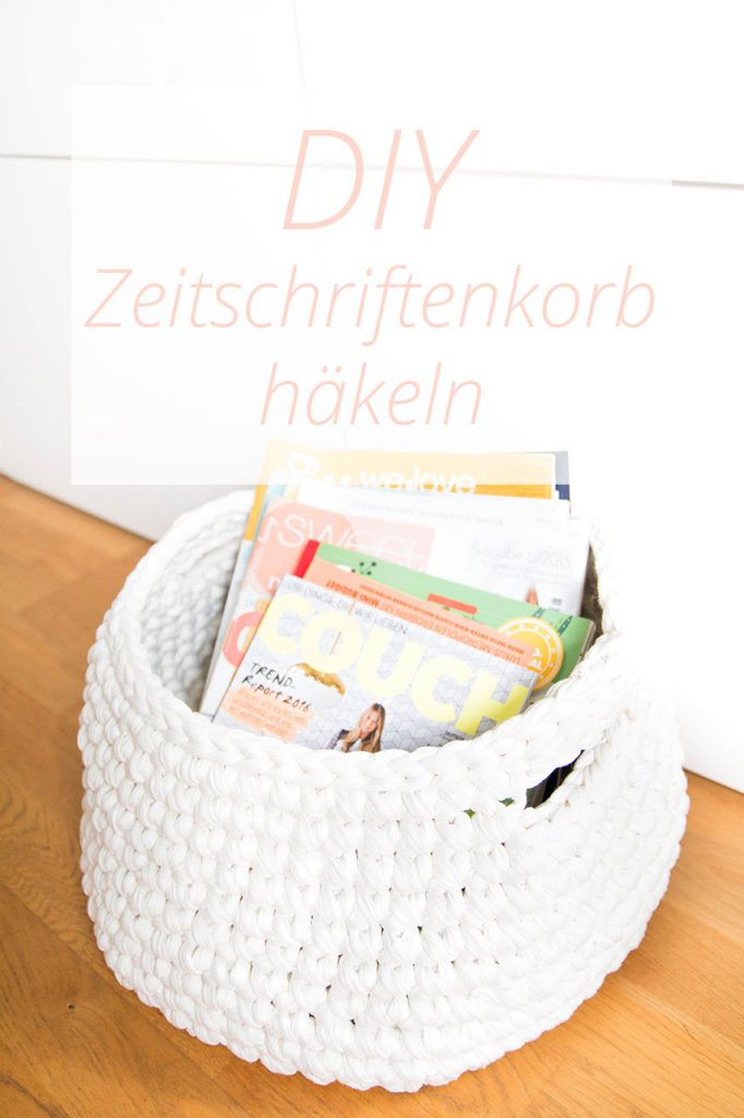 Zeitschriftenkorb häkeln Anleitung mit Zpagetti Garn