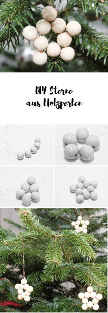 DIY Sterne aus Holzkugeln basteln