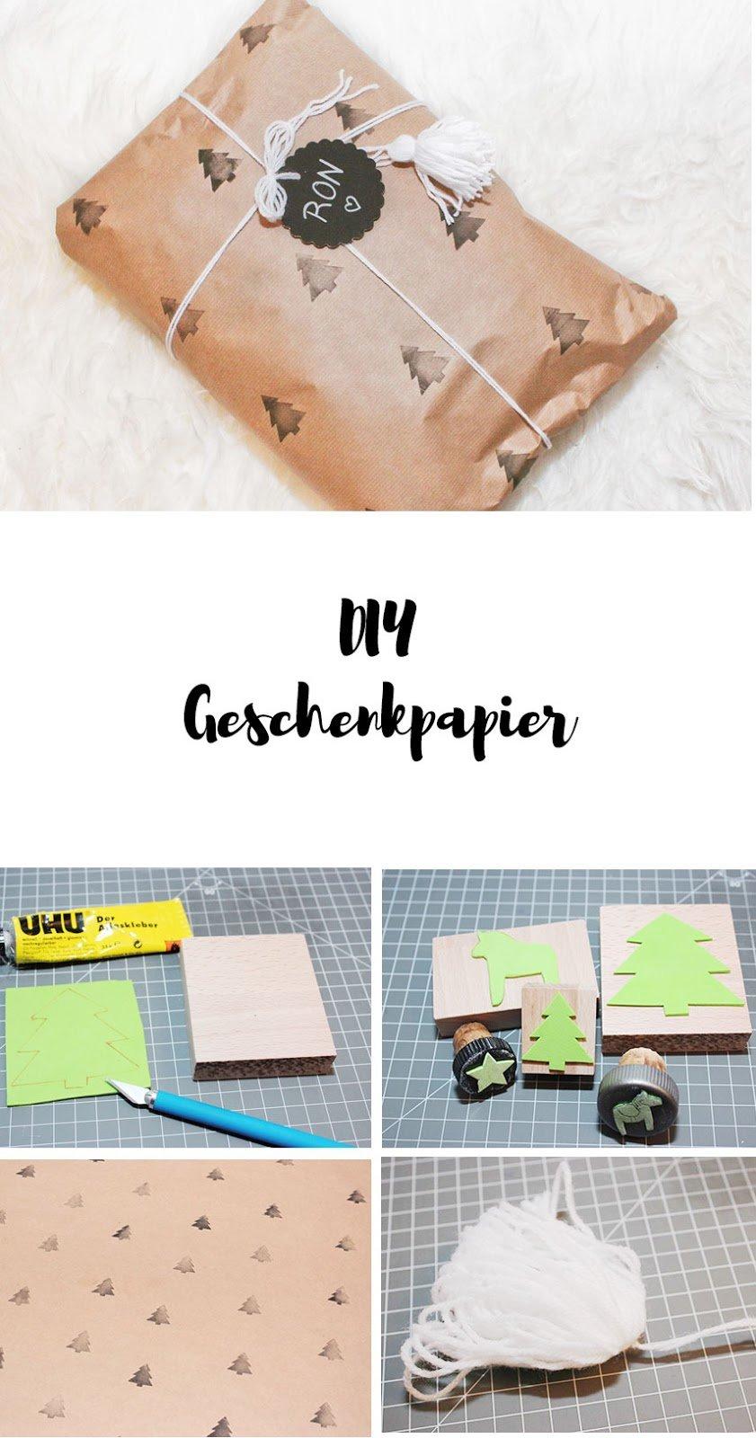 DIY Geschenkpapier aus Packpapier mit Stempeln
