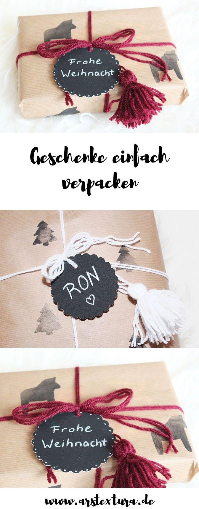 DIY Geschenkpapier aus Packpapier mit Stempeln - Geschenke günstig verpacken - DIY Geschenk
