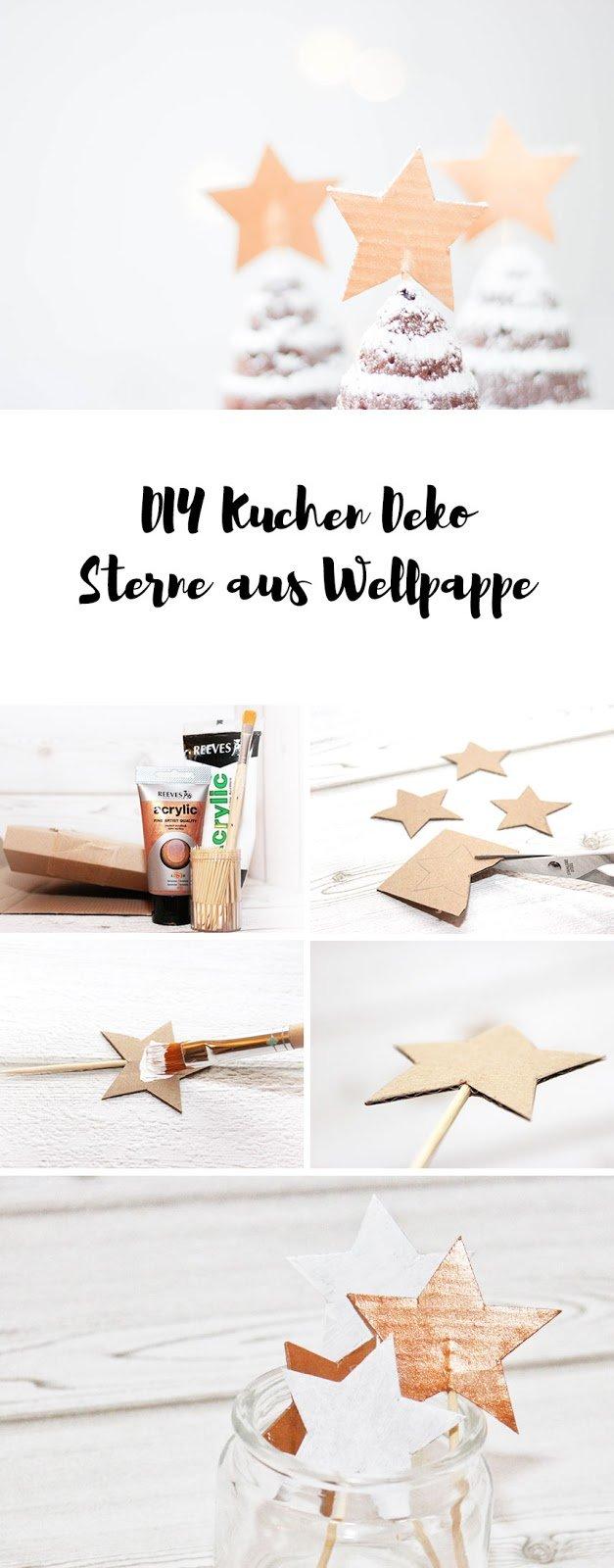 Kuchendeko Sterne aus Wellpappe basteln | Upcycling für Weihnachten