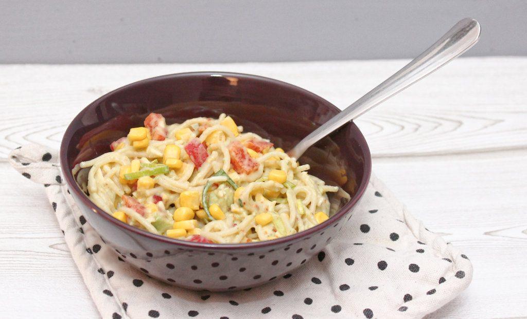 spaghetti salat mit avocado ars textura diy blog food bastelideen rezepte. Black Bedroom Furniture Sets. Home Design Ideas
