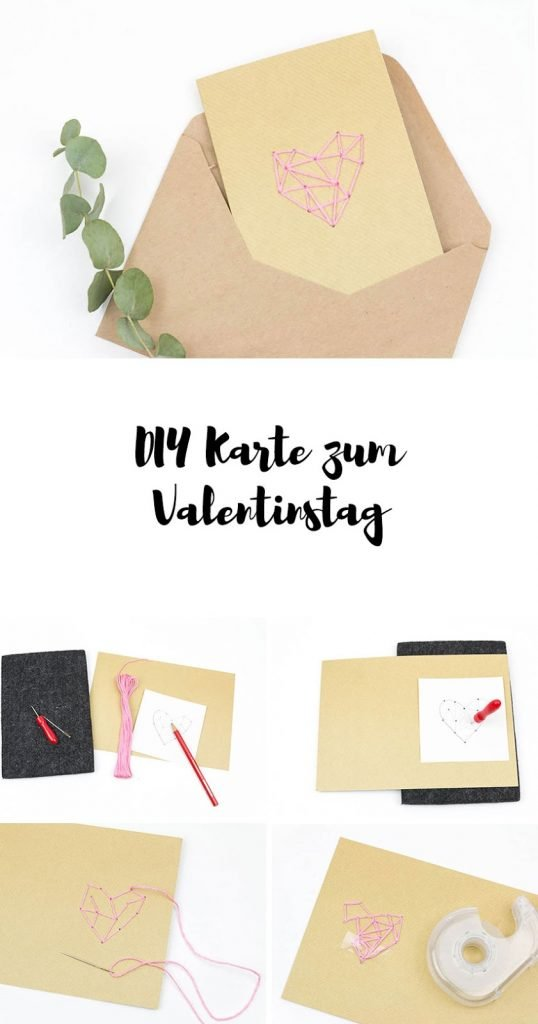 Anleitung DIY Karten zum Valentinstag - so einfach kannst du eine Karte mit einem geometrischen Herz besticken