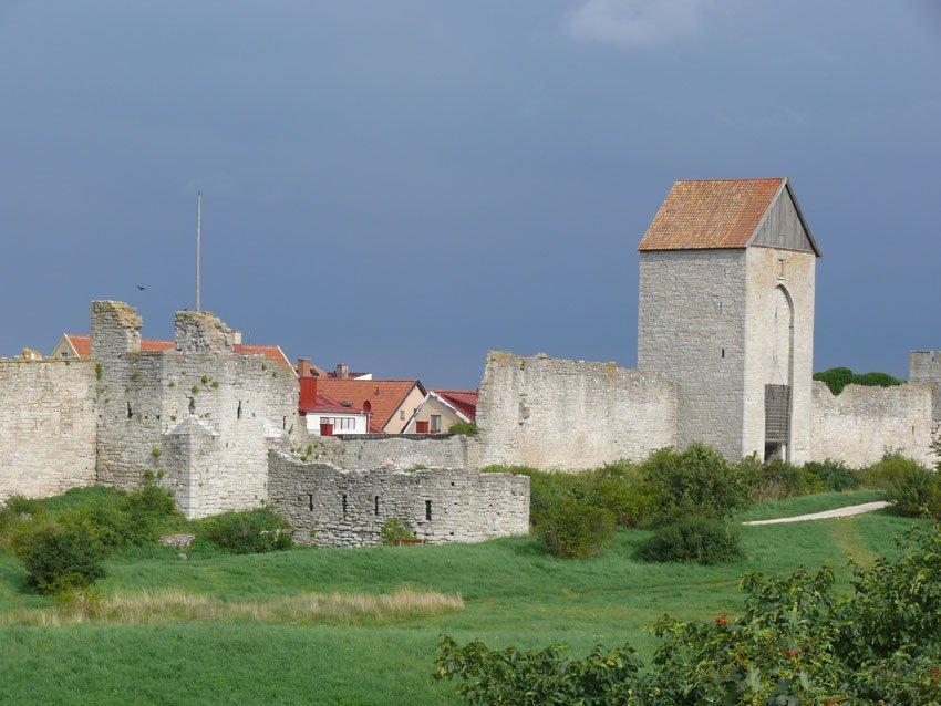 Mittelalterliche Stadtmauer von Visby auf Gotland