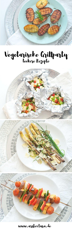 Vegetarische Grillparty mit Süßkartoffel Steaks, Feta Päckchen, gegrillten Kartoffeln und gegrilltem Spargel