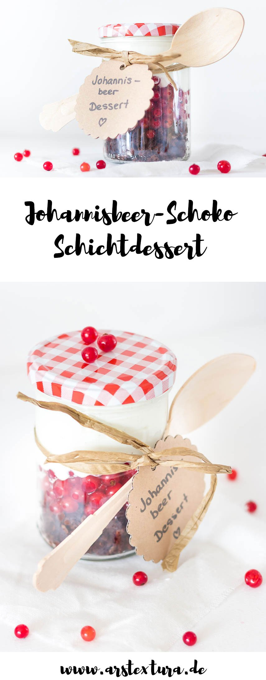 Schichtdessert im Glas fürs Picknick - Johannisbeeren Schokolade