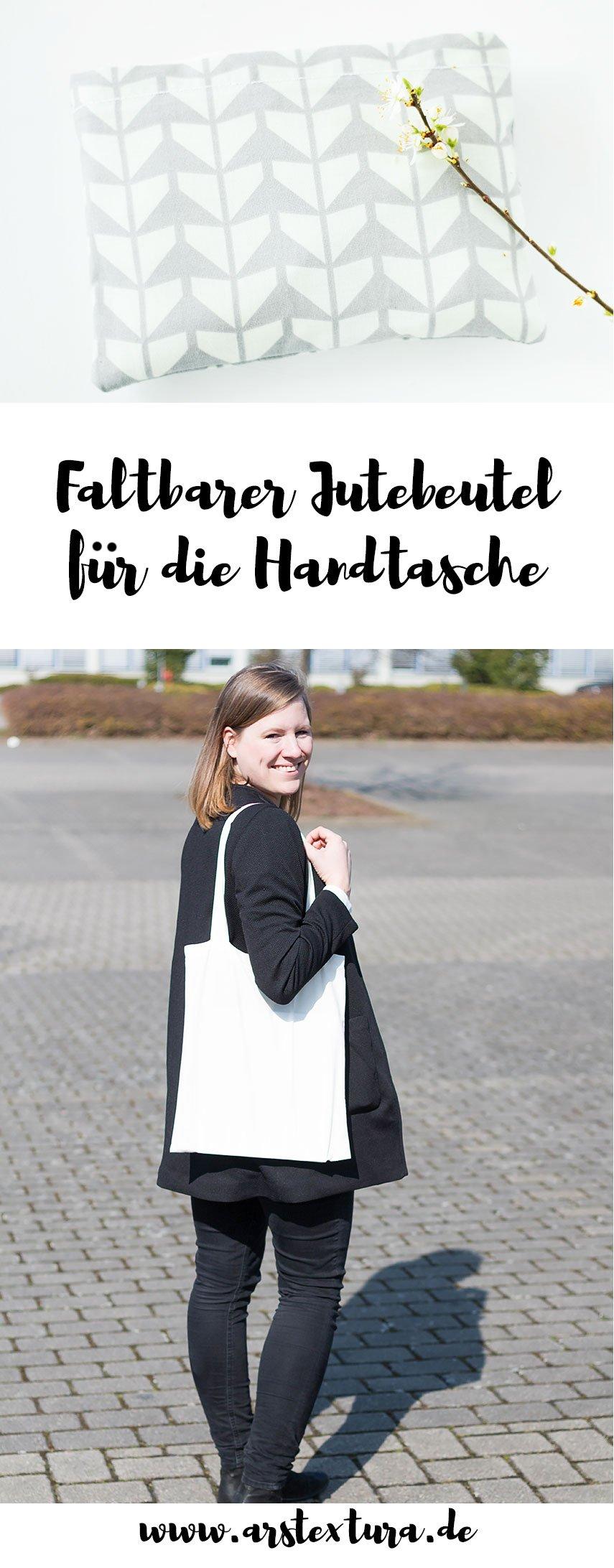 Faltbare Einkaufstasche für die Handtasche nähen - ein tolles DIY Geschenk