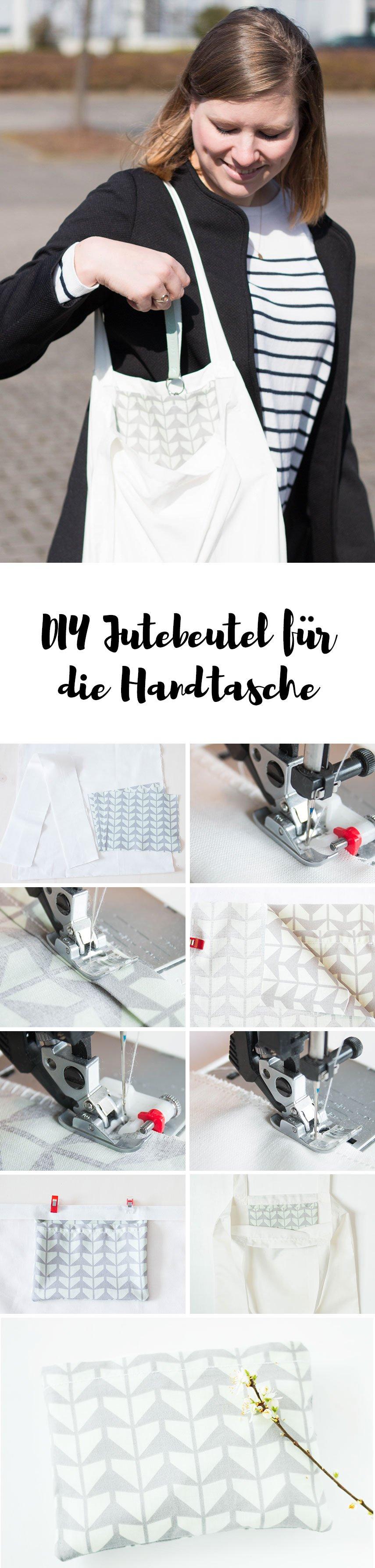 Faltbarer Jutebeutel für die Handtasche nähen - Anleitung für eine DIY Einkaufstasche