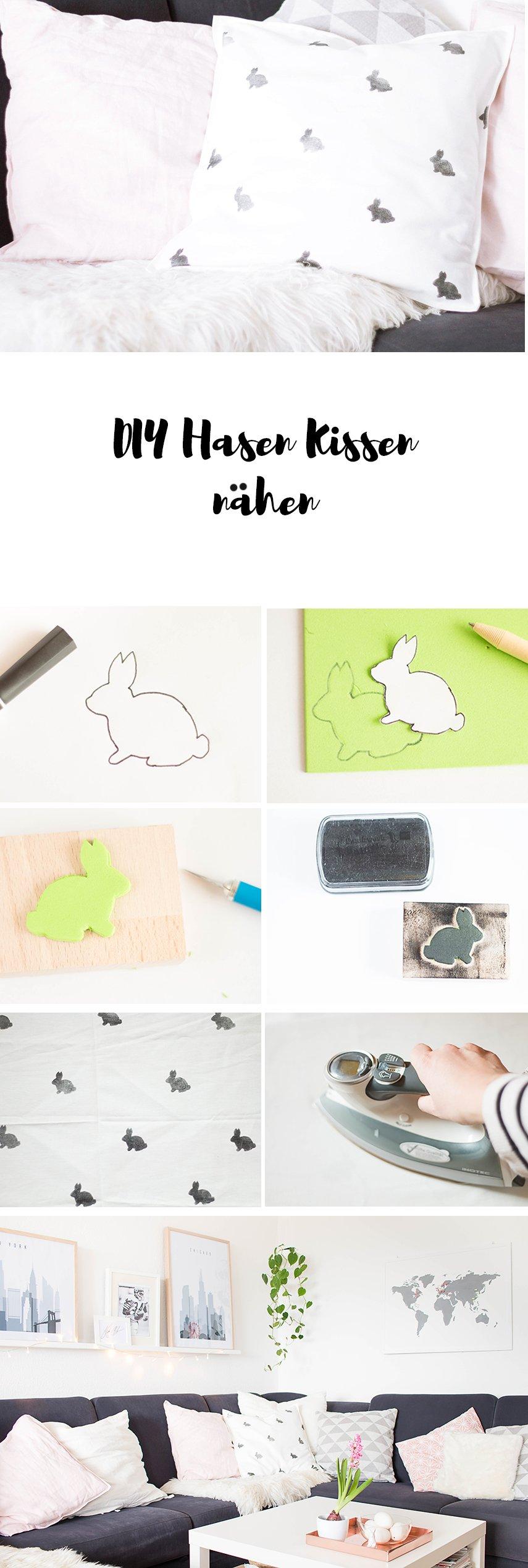 Hasen Kissen nähen für die DIY Osterdeko im Wohnzimmer