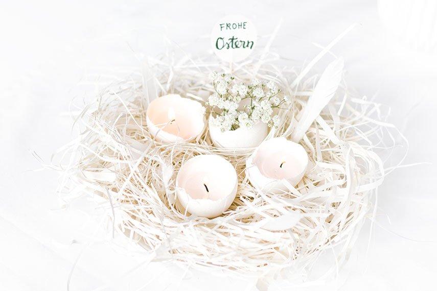 Osternest mit Eierkerzen basteln