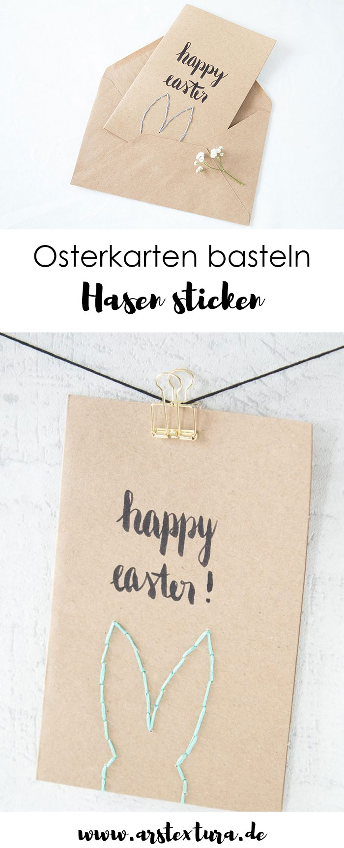 Osterkarten basteln und mit einem Hasen besticken - wunderschöne Ostergrüße für die ganze Familie - eine tolle DIY Idee für Ostern #ostern #ostergrüße #osterhase