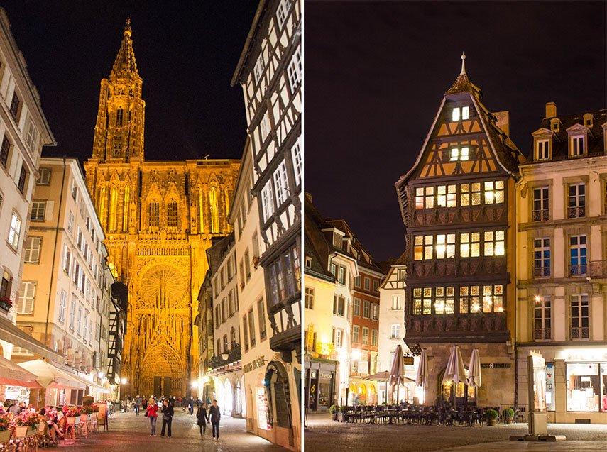 Kathedrale in Straßburg bei Nacht