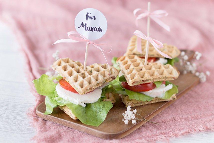 Waffel-Sandwich zum Muttertag