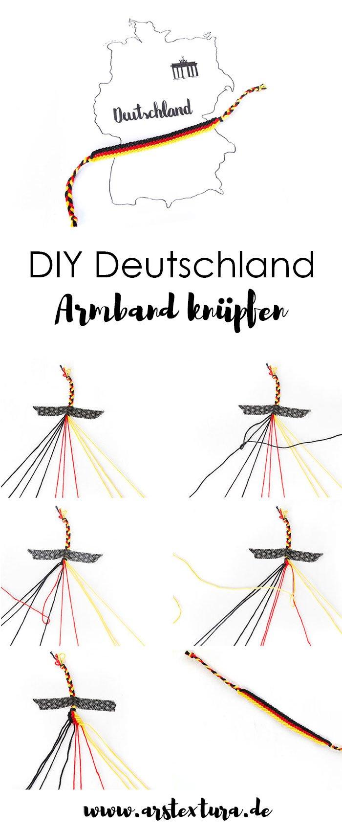 DIY Deutschland Armband für die WM knüpfen - das perfekte Accessoire für die WM Party | ars textura - DIY Blog
