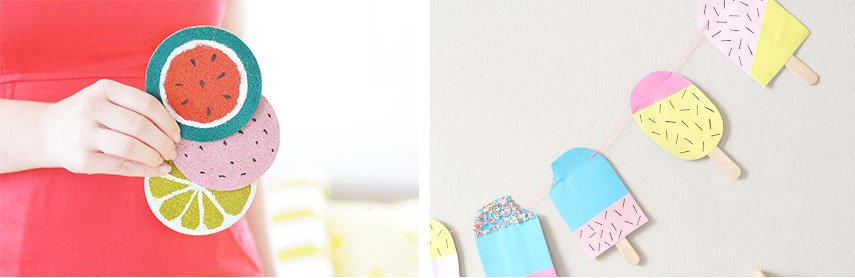 Obstuntersetzer und Eis Girlande basteln