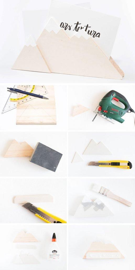 Anleitung für einen DIY Briefhalter mit Bergmotiv aus Restholz