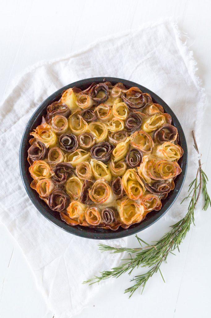 glutenfreie Kartoffel Quiche mit Rosen - Kartoffel Rosen - potato roses