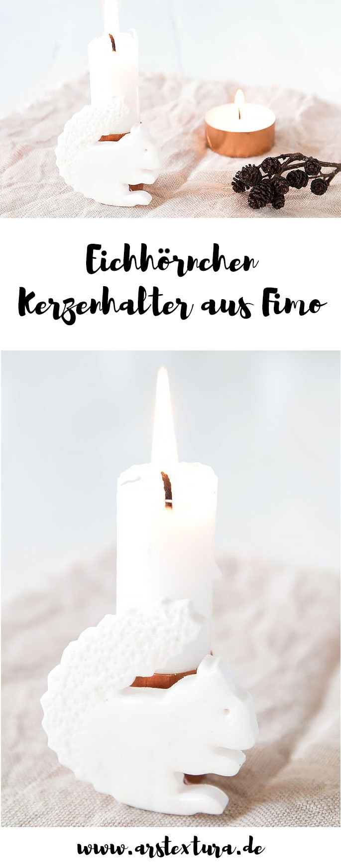 Herbstdeko basteln: Eichhörnchen Kerze aus Fimo basteln