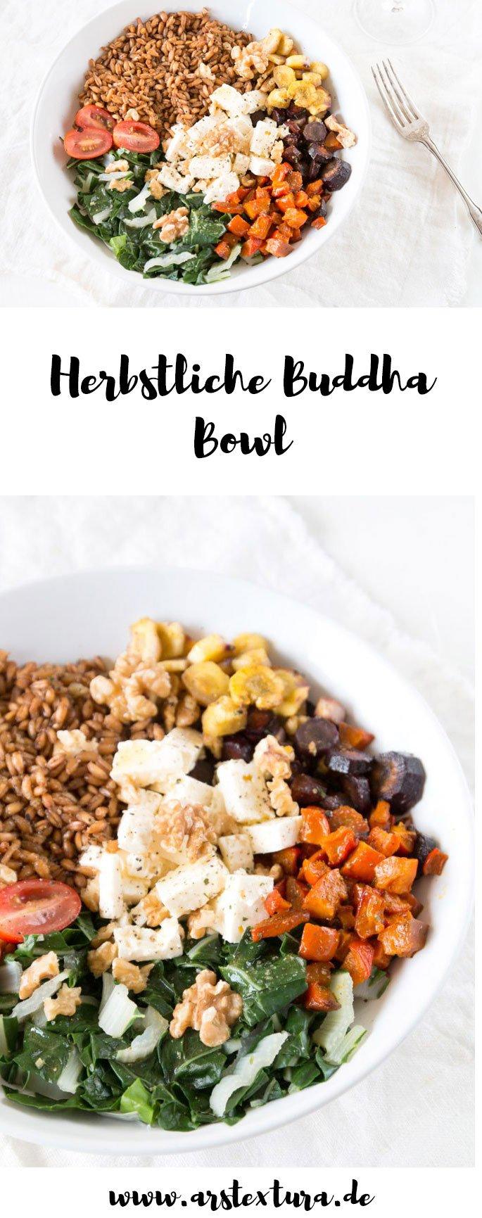 Buddha Bowl Rezept im Herbst mit Kürbis, Mangold und Pastinaken