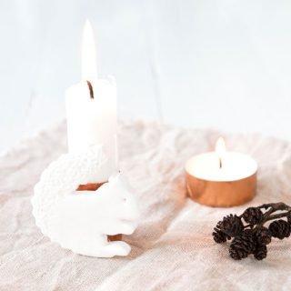 Herbstdeko basteln - Eichhörnchen Kerze aus Fimo