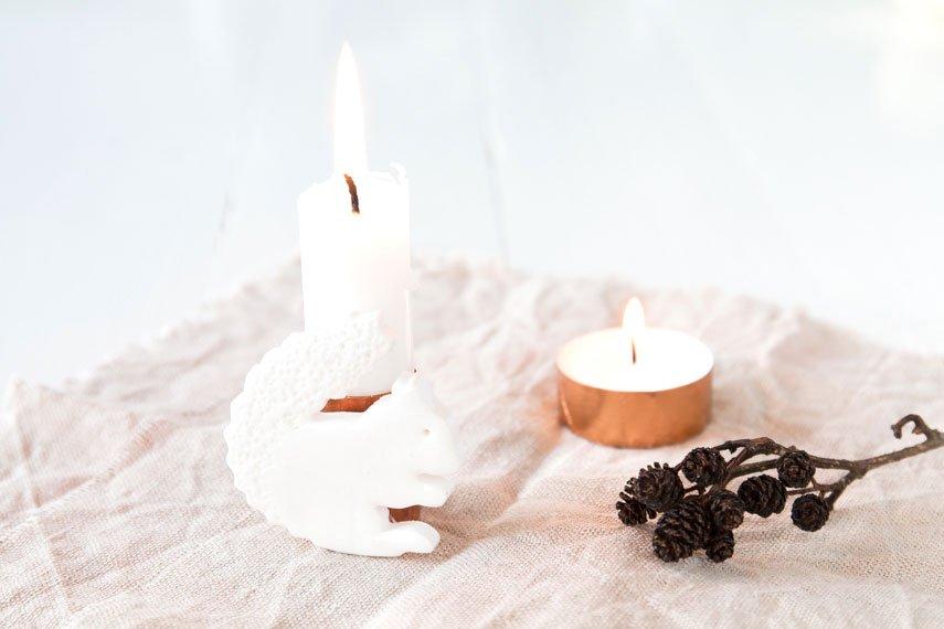 Eine niedliche Eichhörnchen-Kerze für den Herbst!