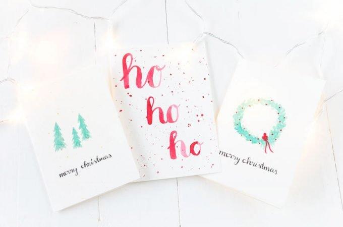 DIY Weihnachtskarten mit Aquarell basteln