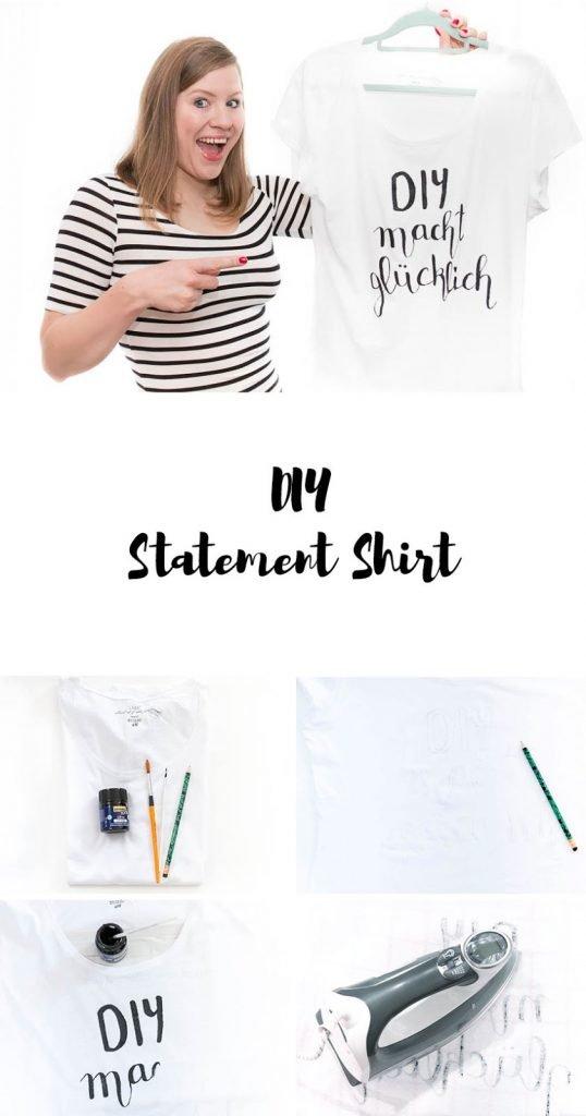 DIY Statement Shirt gestalten - einfach mit Stoffmalfarbe anmalen und mit Handlettering den Lieblingsspruch draufschreiben