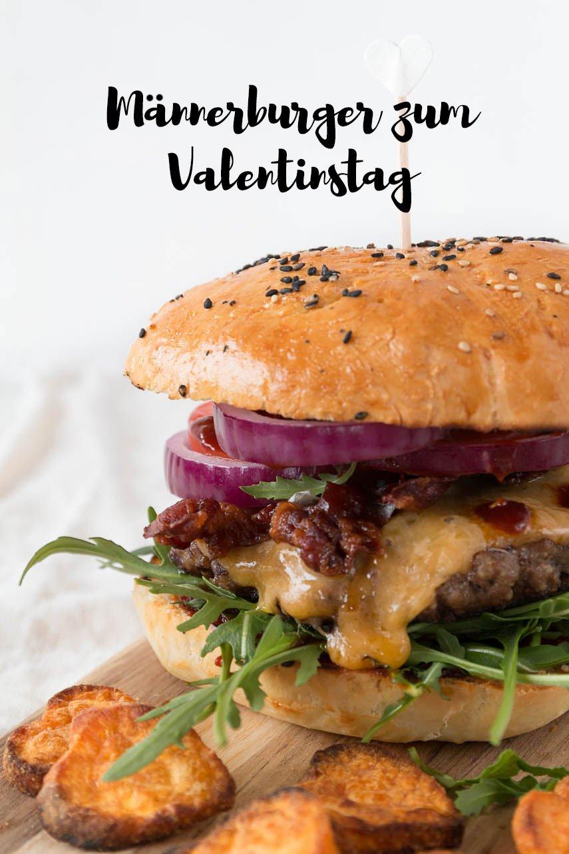 Männerburger zum Valentinstag mit selbstgemachter Barbecue Soße und Bacon