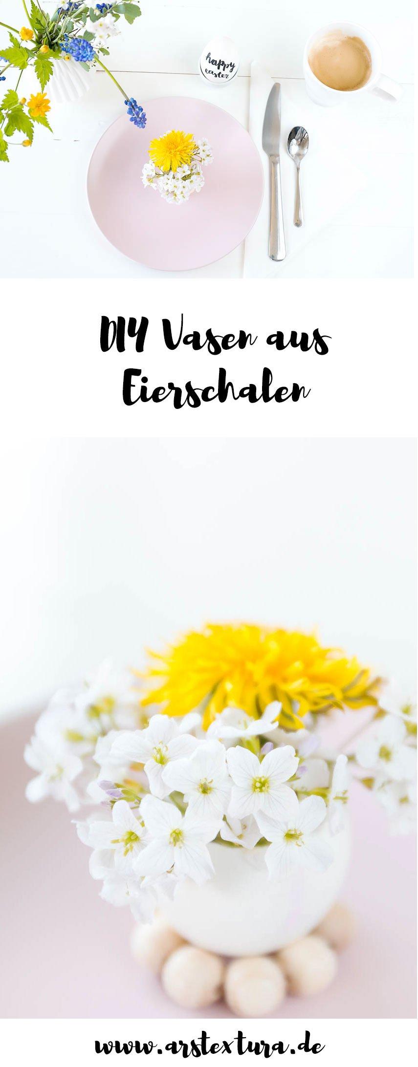 Tischdeko für Ostern mit DIY Eier-Vasen aus alten Eierschalen und Blumen aus dem Garten