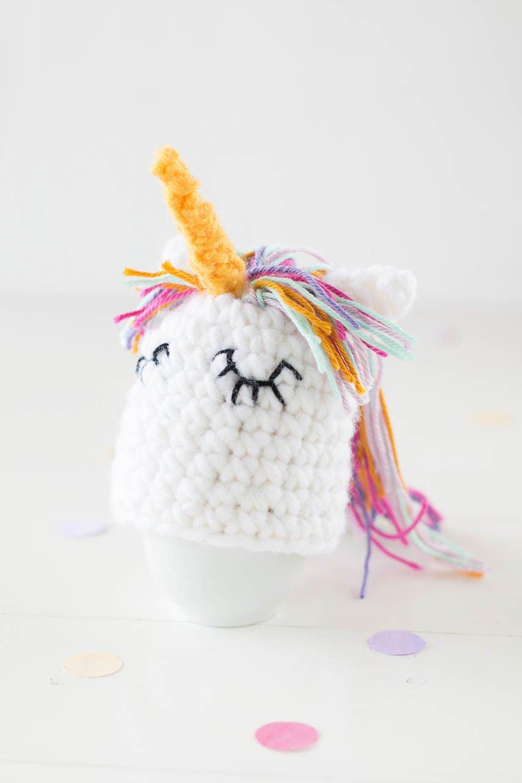 Einhorn Eierwärmer häkeln - DIY Eierwärmer für Ostern mit Video Anleitung