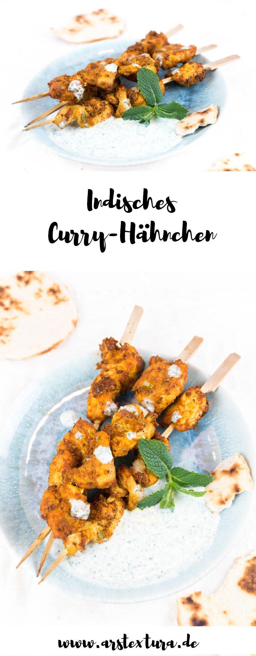Indisches Curry Hähnchen - Indische Tikka Hähnchen Spieße mit Minze-Joghurt Sauce