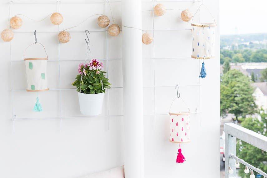 DIY Lampions aus Stickrahmen