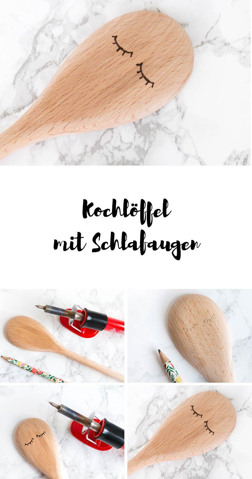 DIY Geschenk: Kochlöffel mit Schlafaugen in Brandmalerei