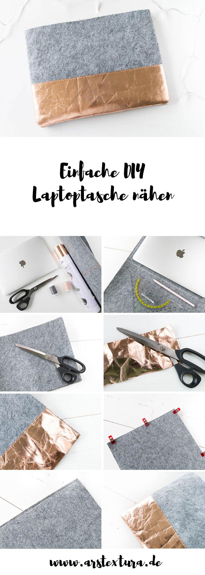 Einfache Laptoptasche nähen - Seele fürs Macbook aus Filz - ein tolles DIY Geschenk