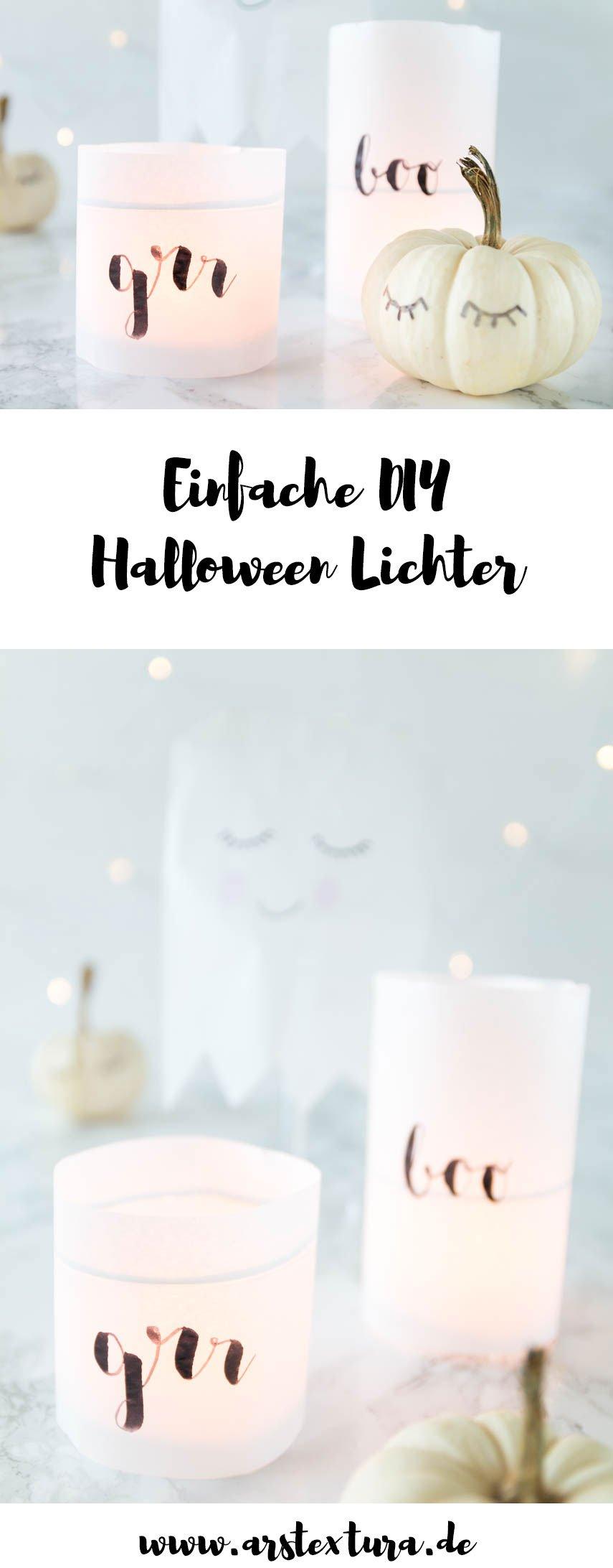 Halloween Deko basteln - Windlichter aus Brotpapier