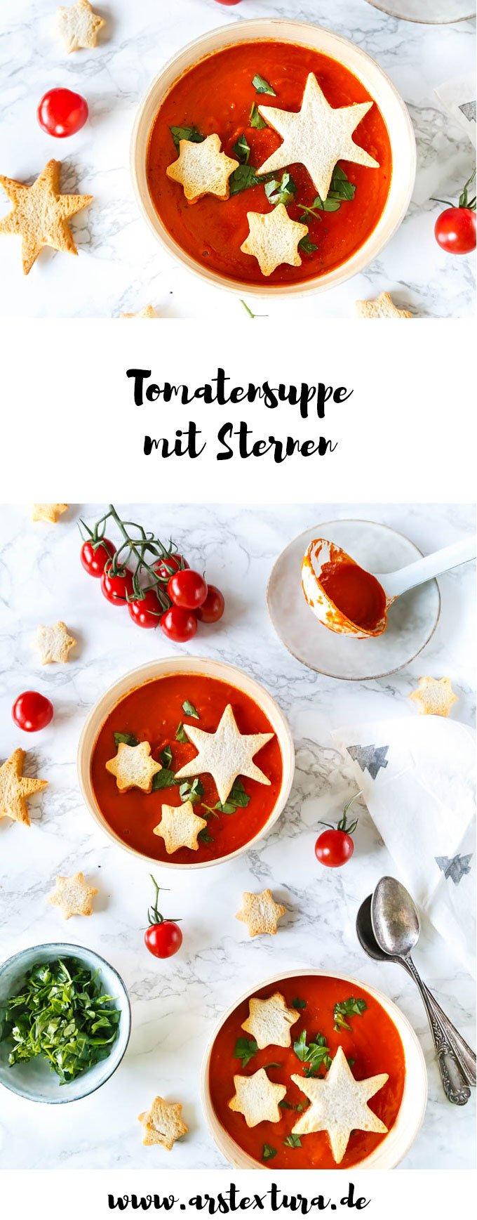Tomatensuppe mit Sternen - die perfekte Vorsuppe fürs Weihnachtsmenü #weihnachtsgericht #weihnachten #tomatensuppe
