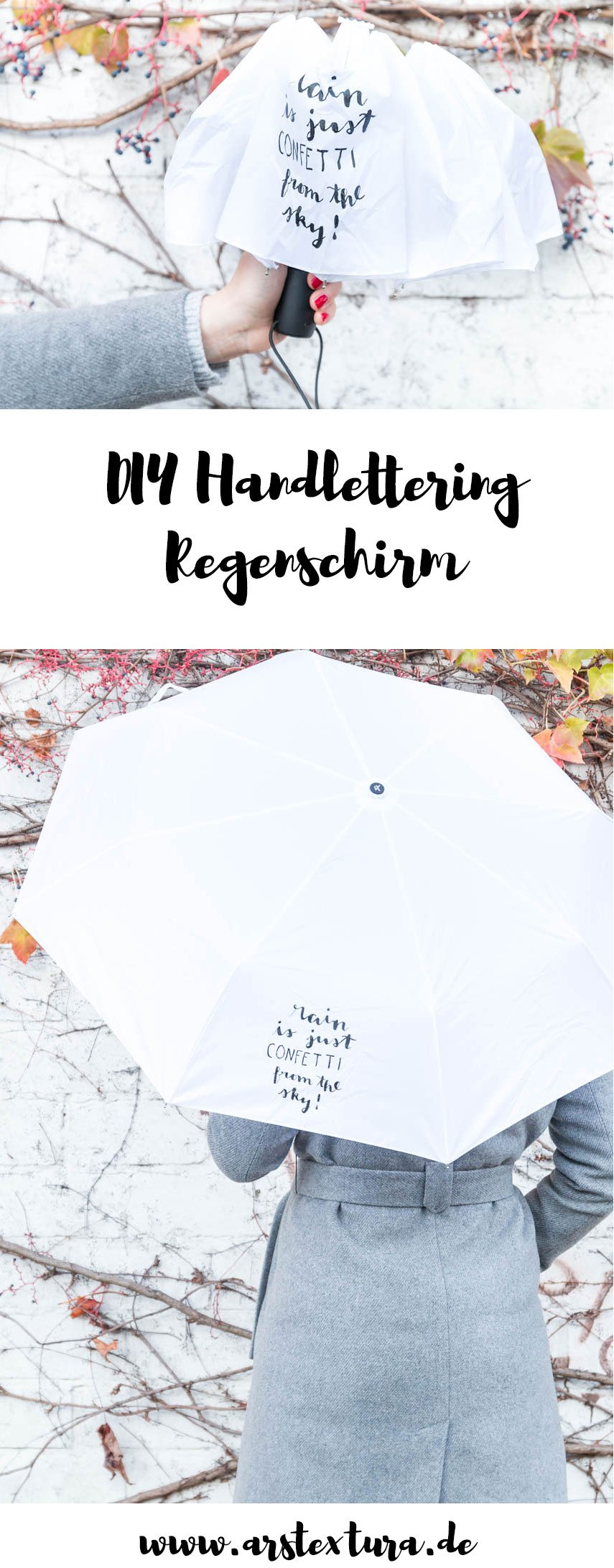 DIY Regenschirm mit Handlettering - DIY umbrella painted - rain is just confetti from the sky