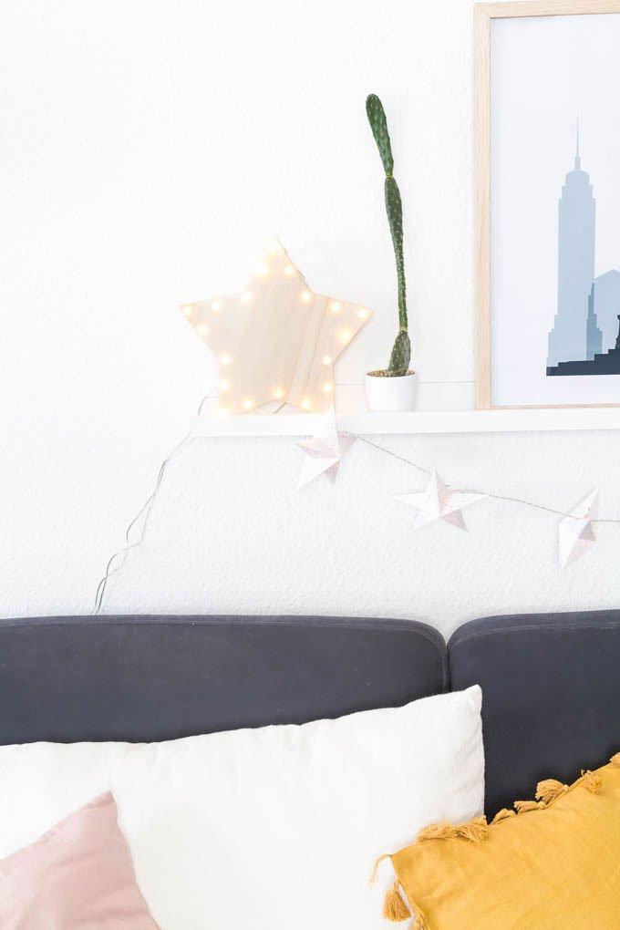 DIY Weihnachtsdeko fürs Wohnzimmer | Leuchtender Stern aus Holz und einer Lichterkette | #weihnachtsdeko