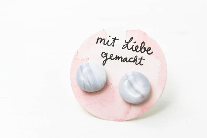 Marmor Ohrstecker aus Fimo | DIY Geschenk