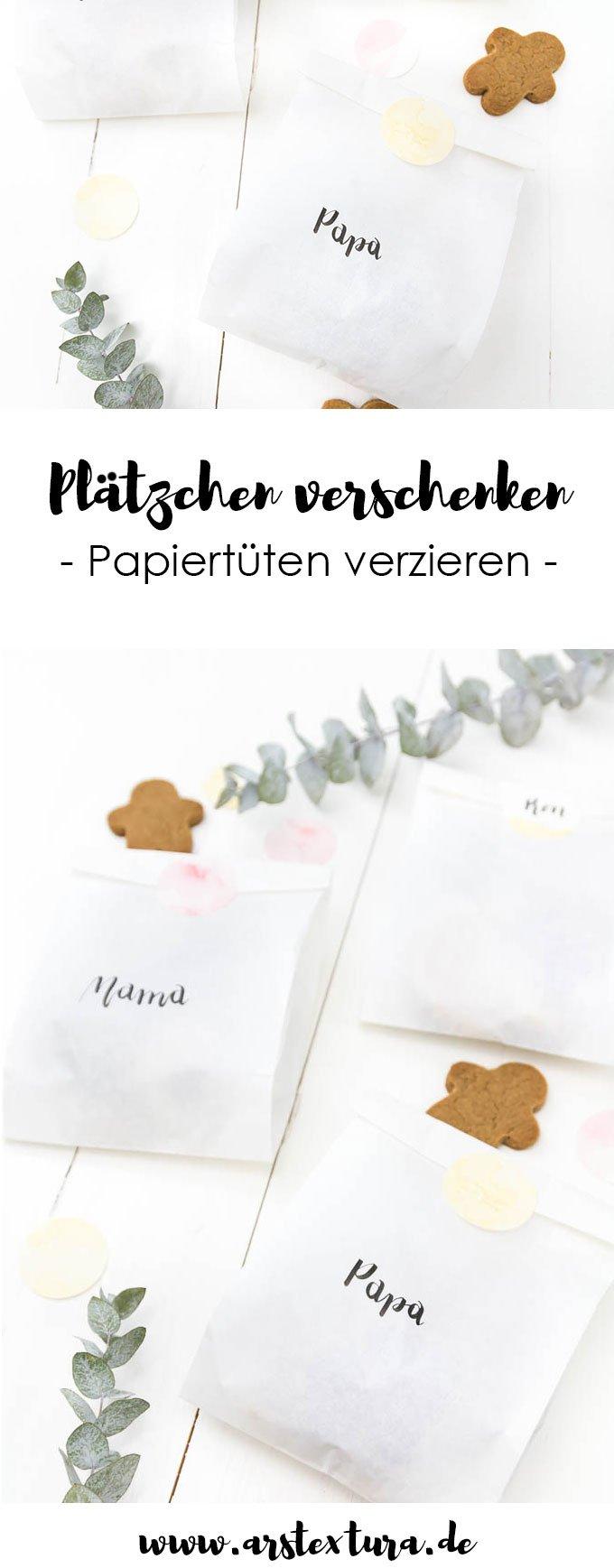 Plätzchen verschenken - Papiertüten mit Handlettering verzieren - Geschenke einfach und günstig verpacken