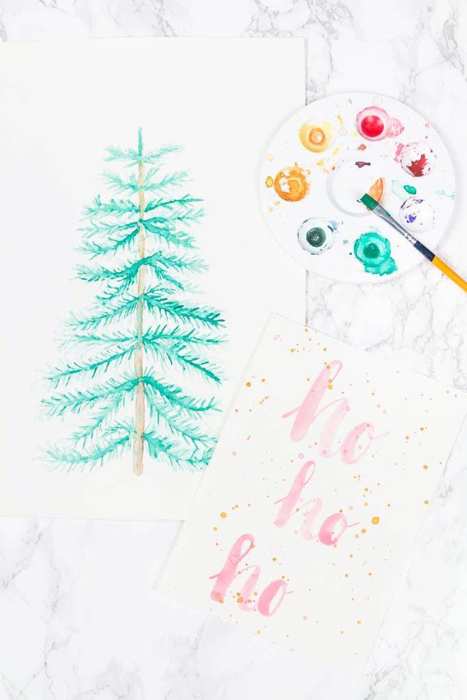 Aquarellbilder malen mit Anleitung - weihnachtliches Printable
