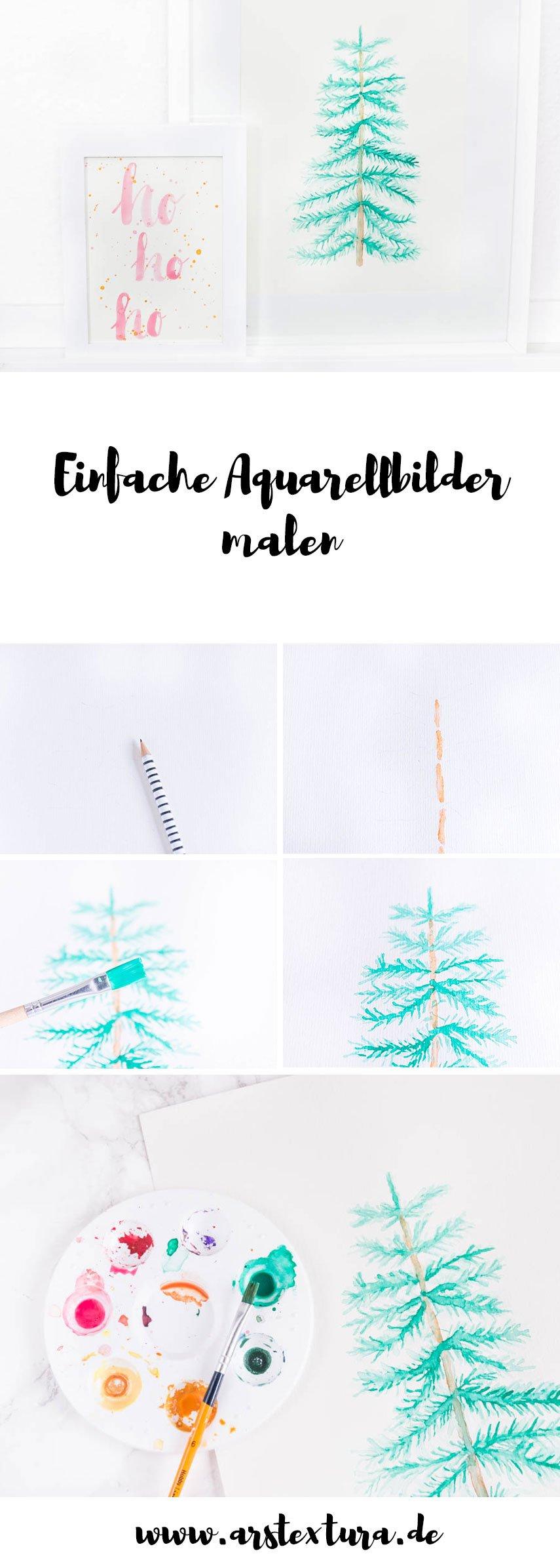 Aquarellbilder malen mit Anleitung - weihnachtliche Aquarellbilder