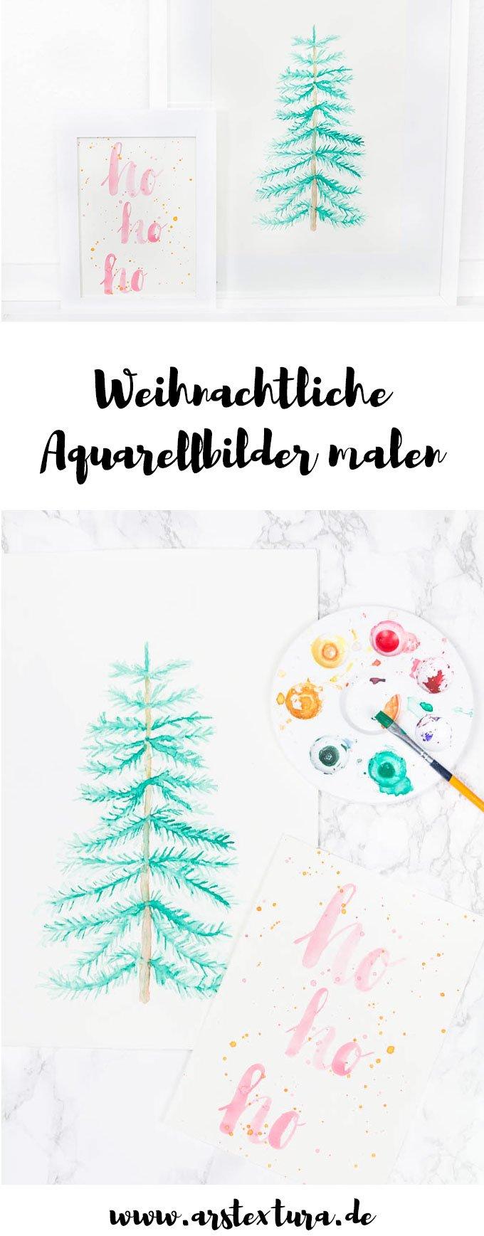 DIY weihnachtliche Aquarellbilder malen | ars textura DIY Blog