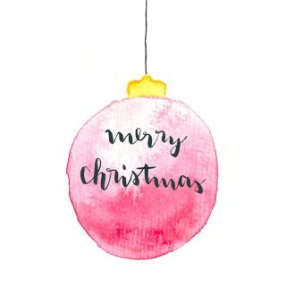 Weihnachtskarte merry Christmas Aquarell Karte gratis zum Download | ars textura - DIY Blog
