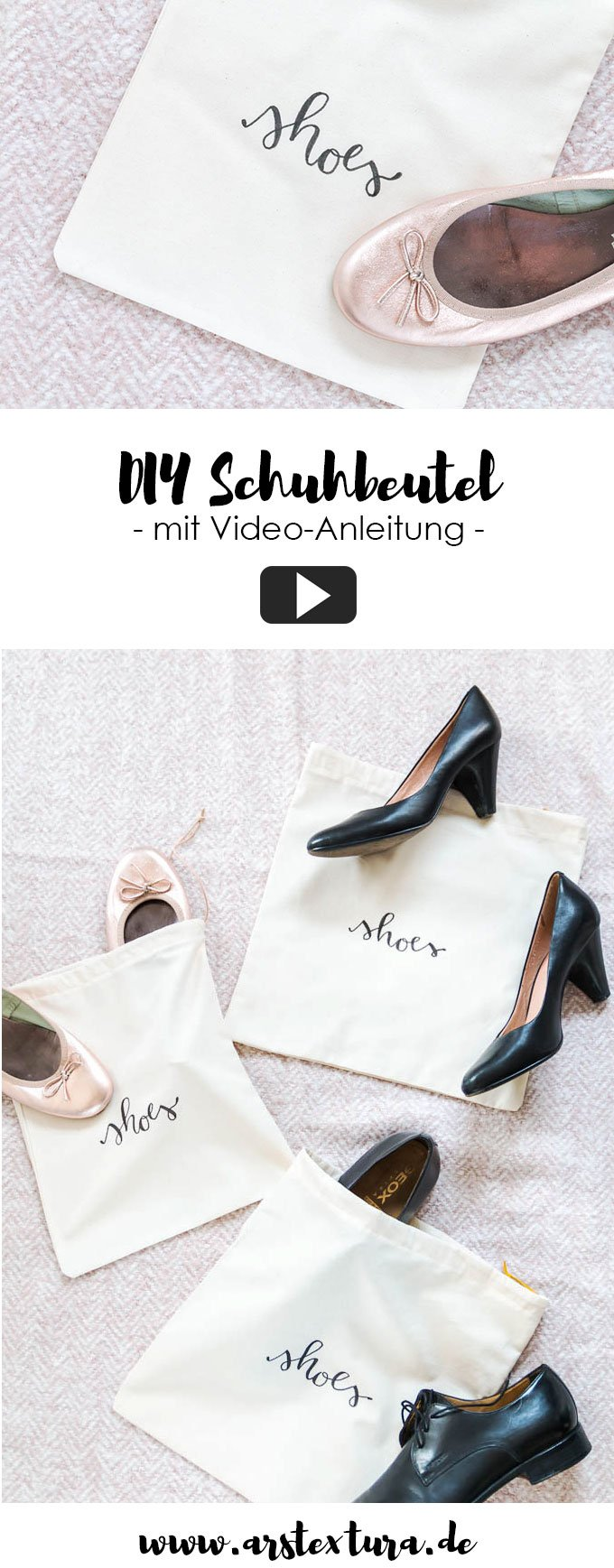 Nähen Anleitungen: DIY Schuhbeutel nähen - DIY Geschenk für Männer zum Geburtstag oder Weihnachten | ars textura - DIY Blog