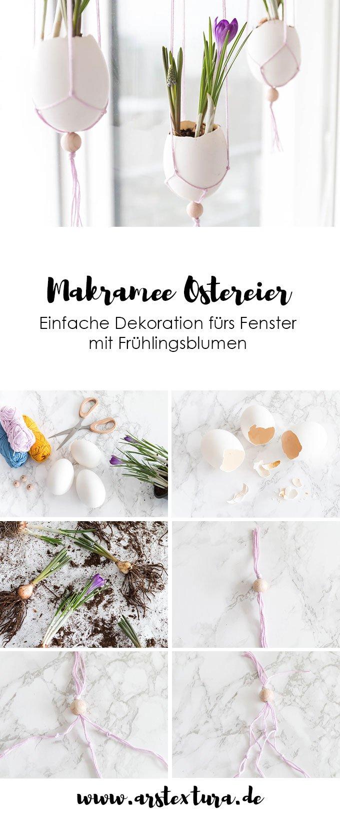 Fenster Dekoration Ostern: Makramee Ostereier mit Frühlingsblumen basteln | Ostern basteln | Ostern Dekoration | DIY Anleitung Makramee | ars textura - DIY Blog