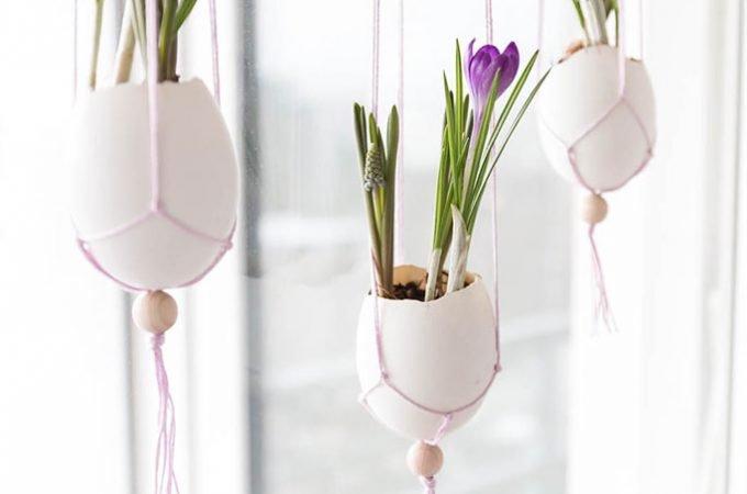 Makramee Ostereier – Fensterdekoration für Ostern