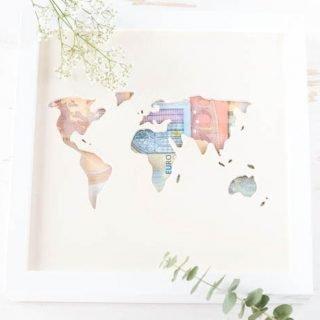 Geldgeschenk zur Hochzeit basteln - Ikea Hack: Rieb mit Weltkarte aus Holz und Geldscheinen - das perfekte DIY Geschenk zur Hochzeit | ars textura - DIY Blog