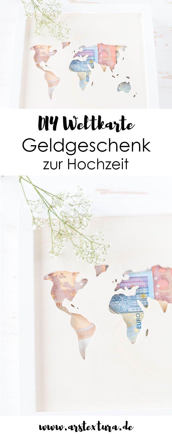 Geldgeschenk zur Hochzeit basteln - Ikea Hack: Ribba mit Weltkarte aus Holz und Geldscheinen - das perfekte DIY Geschenk zur Hochzeit basteln | ars textura - DIY Blog